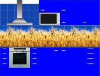 Кухонный гарнитур с фартуком из фотоплитки с повторяющейся фотографией. Источник http://www.photoplitka.ru